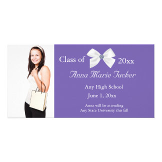 Purple and White Graduation Photo Card