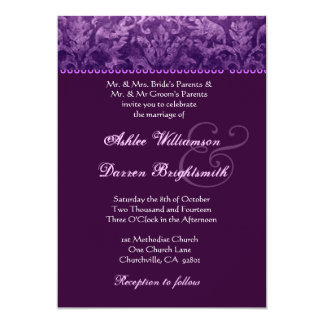 Purple and White Grunge Damask Wedding Ver 001 5x7 Paper Invitation Card