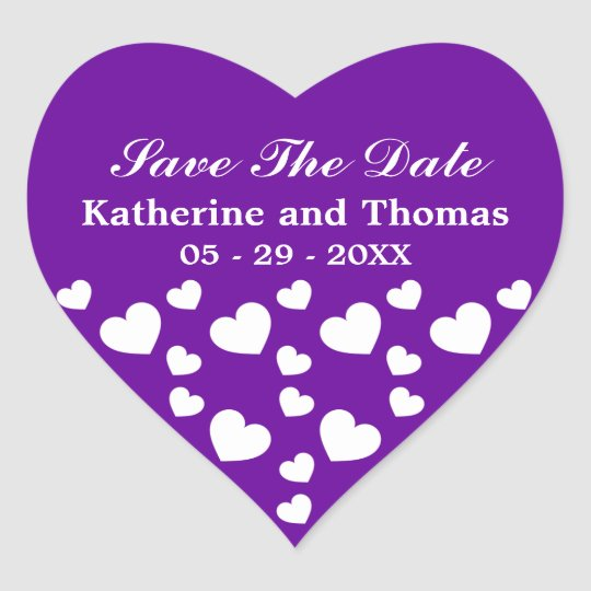 Purple and White Hearts Save The Date Stickers