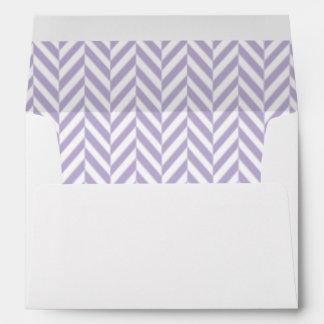 Purple and White Herringbone Lined Envelopes