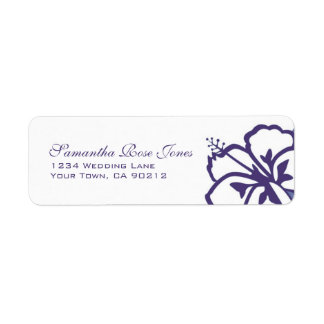 Purple and White Hibiscus Flowers Custom Address Label