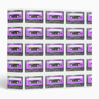 Purple and White Houndstooth Label Cassette Binder