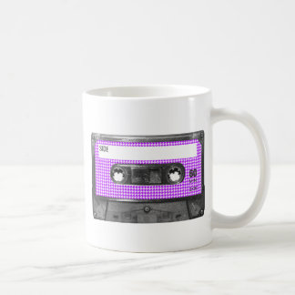 Purple and White Houndstooth Label Cassette Coffee Mug