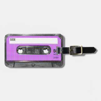 Purple and White Houndstooth Label Cassette Tag For Bags