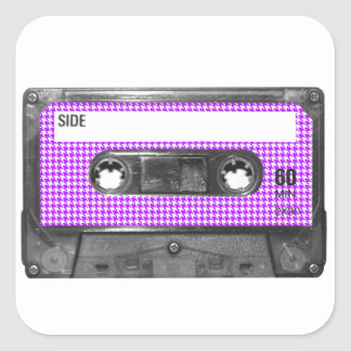 Purple and White Houndstooth Label Cassette Square Sticker