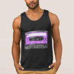 Purple and White Houndstooth Label Cassette Tank Top