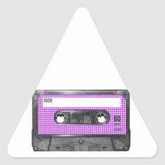 Purple and White Houndstooth Label Cassette Triangle Sticker