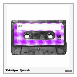Purple and White Houndstooth Label Cassette Wall Decal