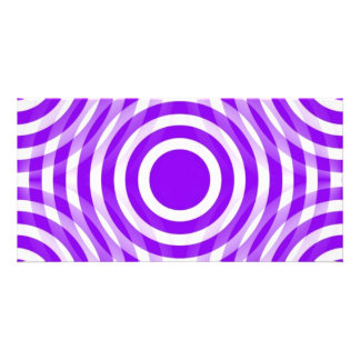 purple_and_white_interlocking_concentric_circles personalized photo card