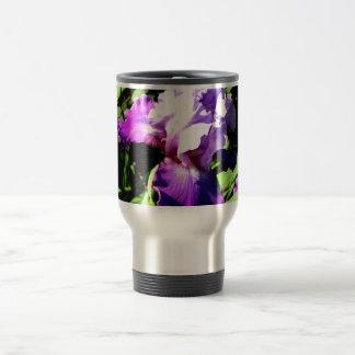 Purple and White Iris Travel Mug
