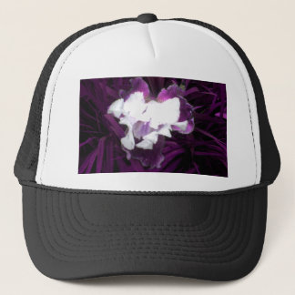 Purple and White Iris Trucker Hat