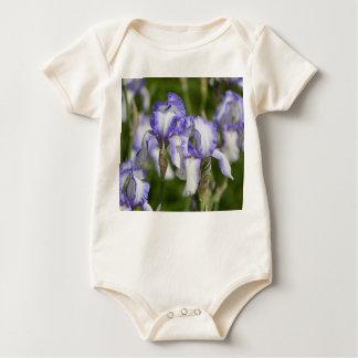 Purple and White Irises Baby Bodysuit