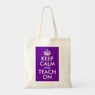Purple and White Keep Calm and Teach On Canvas Bag