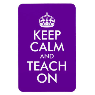Purple and White Keep Calm and Teach On Vinyl Magnets
