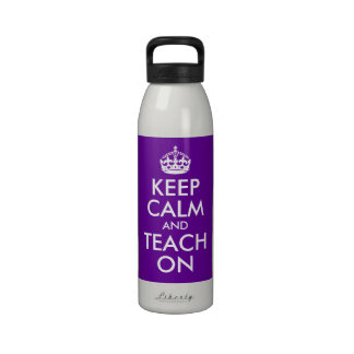 Purple and White Keep Calm and Teach On Water Bottle