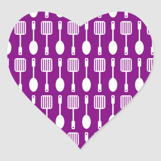 Purple and White Kitchen Cooking Utensils Pattern Heart Sticker