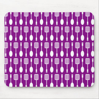 Purple and White Kitchen Cooking Utensils Pattern Mouse Pad