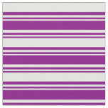 [ Thumbnail: Purple and White Lined/Striped Pattern Fabric ]