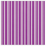 [ Thumbnail: Purple and White Lines Fabric ]