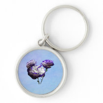 Purple and White Lisianthus Keychain