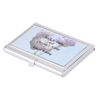 Purple and White Lisianthus Wedding Products Business Card Case