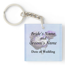 Purple and White Lisianthus Wedding Products Keychain