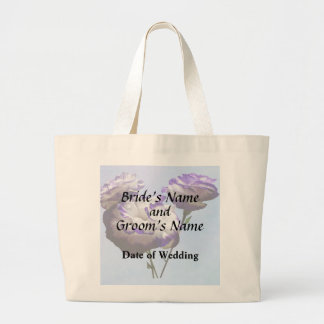 Purple and White Lisianthus Wedding Products Large Tote Bag