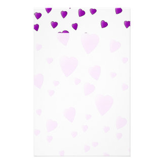 Purple and White Love Hearts Pattern. Stationery