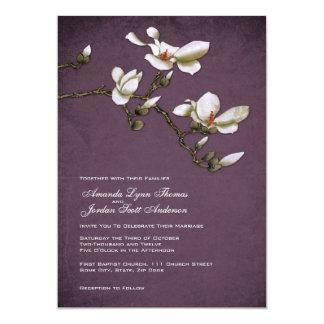 Purple and White Magnolia Wedding Invitation