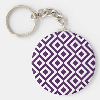 Purple and White Meander Basic Round Button Keychain