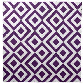 Purple and White Meander Cloth Napkin