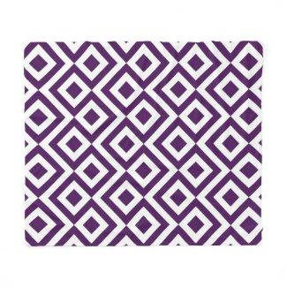 Purple and White Meander Fleece Blanket