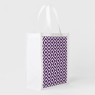 Purple and White Meander Grocery Bags
