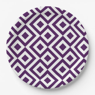 Purple and White Meander Paper Plate