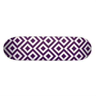 Purple and White Meander Skateboard Deck