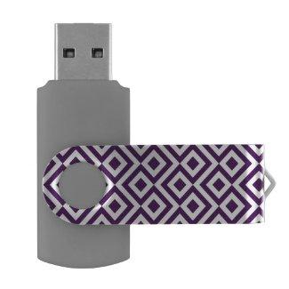 Purple and White Meander Swivel USB 3.0 Flash Drive