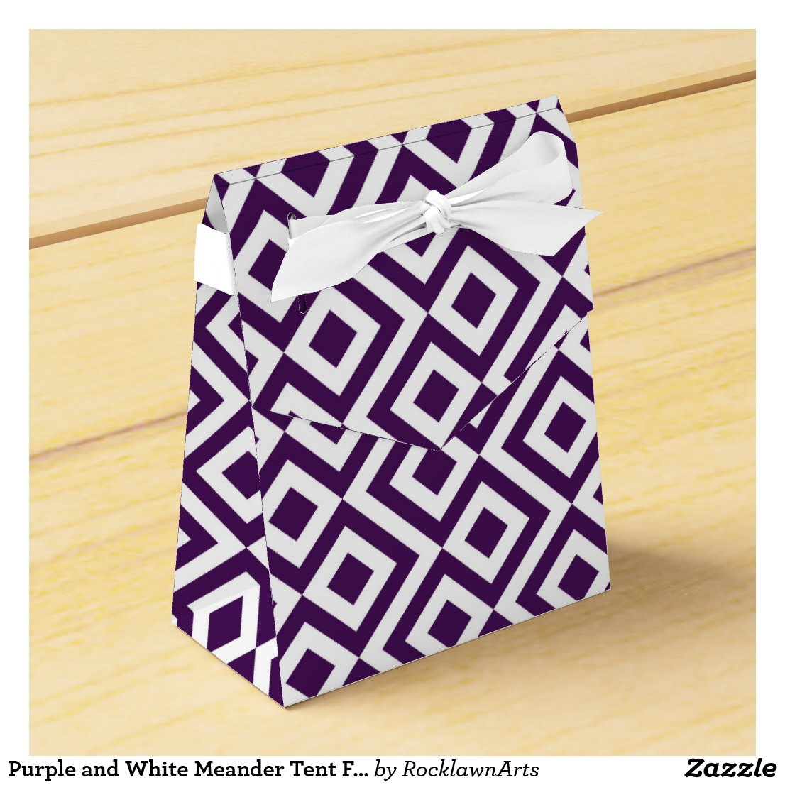 Purple and White Meander Tent Favor Box