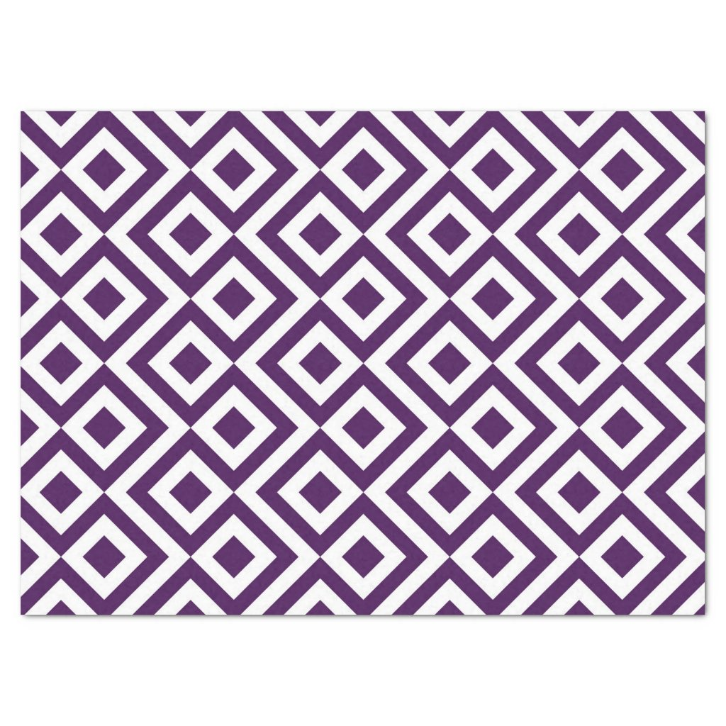 Purple and White Meander Tissue Paper