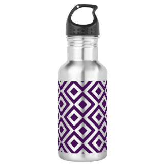 Purple and White Meander Water Bottle