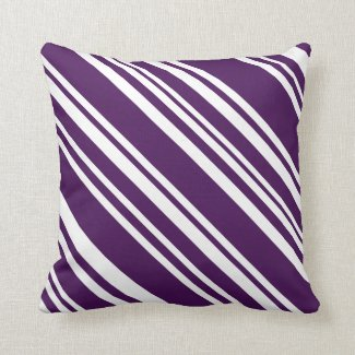 Purple and White Modern Candy Stripe Pillow