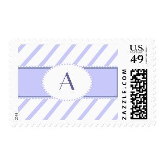 Purple and white monogram postage