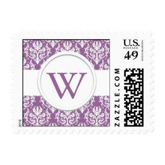 "Purple and White Monogram ""W"" Wedding Stamp"