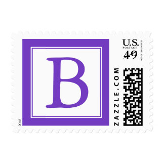 Purple and White Monogrammed Postage Stamps