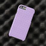 Purple and White Moroccan Floral Quatrefoil Clover Tough iPhone 6 Case