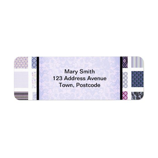 Purple and white mosaic label
