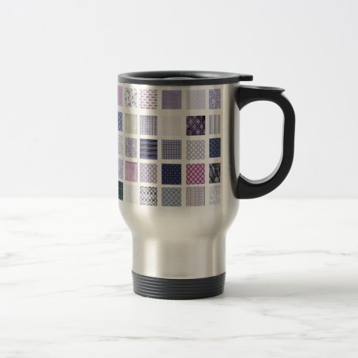 Purple and white mosaic 15 oz stainless steel travel mug