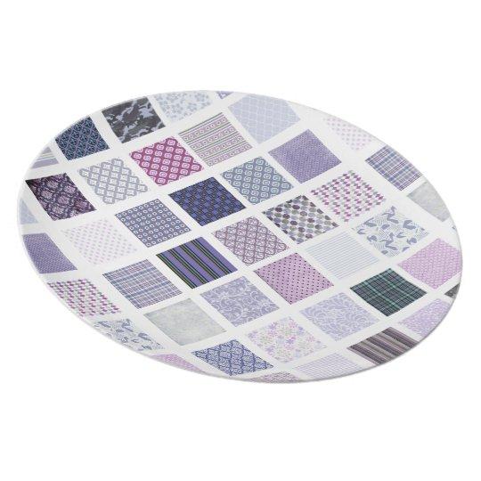 Purple and white mosaic plate