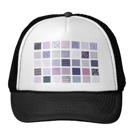 Purple and white mosaic trucker hat
