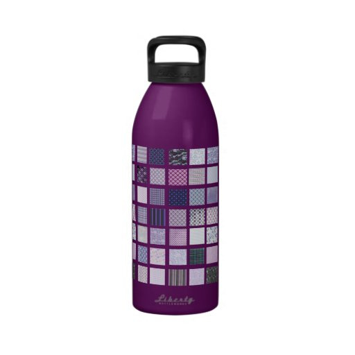 Purple and white mosaic water bottles