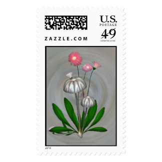 Purple and White Mushrooms with Daisies Postage Stamp